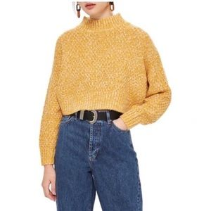 TOPSHOP Yellow Curved Hem Pullover Sweater 10